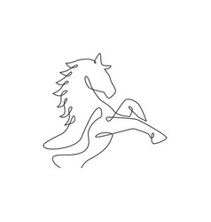 One single line drawing jumping elegance horse vector