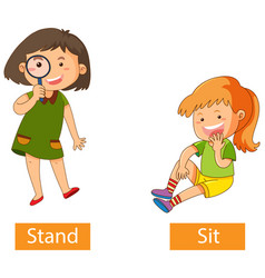 Opposite verb words with stand and sit vector