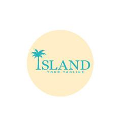 Palm tree on island logo vector