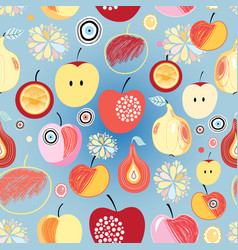 Pattern apples and pears vector