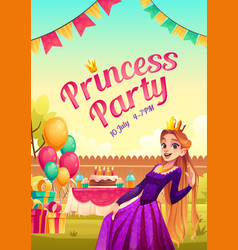 princess party cartoon poster with girl in crown vector image
