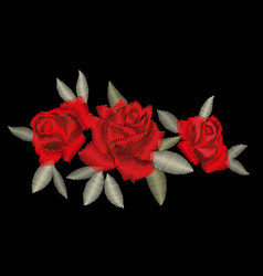 Red rose embroidery vector