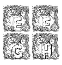 retro mermaid alphabet - e f g h vector image