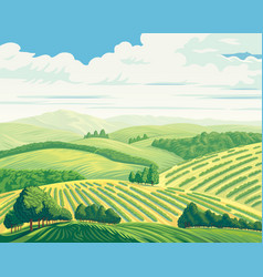rural landscape with hills and fields vector image