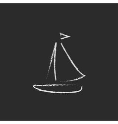 Sailboat icon drawn in chalk vector