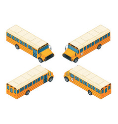 school bus isometric various views of school bus vector image