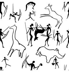 Seamless pattern of rock paintings vector