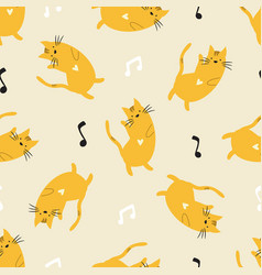 seamless pattern with adorable dancing cats vector image