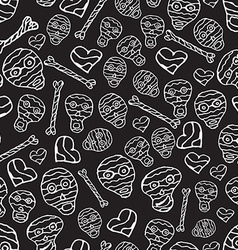 seamless pattern with skulls bones and hearts vector image
