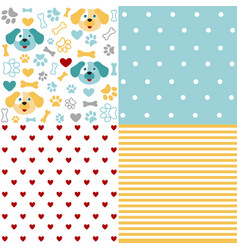set of animal seamless patterns with dog vector image