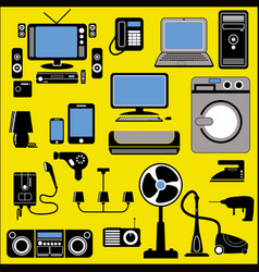 Set of home appliance in two tone style vector