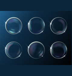 set of realistic bright sparkling soap bubbles vector image