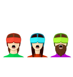 Set of vr gamer in flat style front view vector