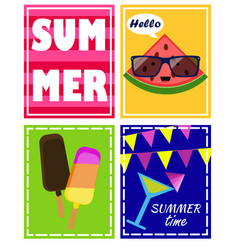 set summer posters postcard vector image
