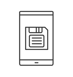 Smartphone screen with save button linear icon vector