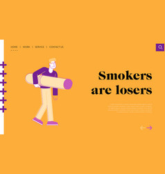 smoking addiction and bad unhealthy habit landing vector image
