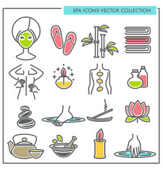 spa procedures and services themed icons vector image