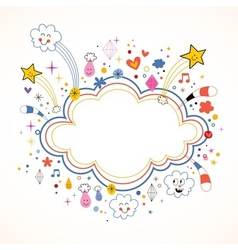 star bursts cartoon cloud shape banner frame vector image