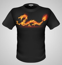 t shirts Black Fire Print man 11 vector image