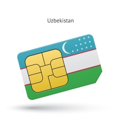 Uzbekistan mobile phone sim card with flag vector