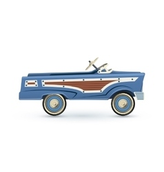 Vintage old blue toy pedal car vector image