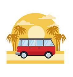 vintage van vehicle on sunset landscape vector image