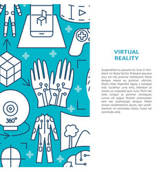 virtual reality concept banner in line style vector image