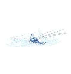 Water skier vector