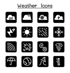 Weather meteorology climate icon set vector