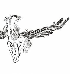 winged horse vector image