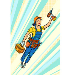 Woman with drill repair and construction vector
