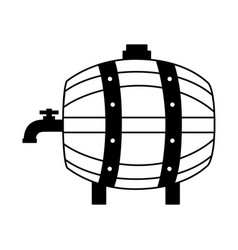 wooden barrel with tap vector image