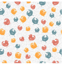 a pattern of colorful roosters vector image