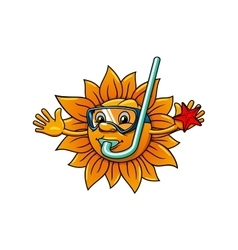 Cartoon sun in diving mask with starfish vector