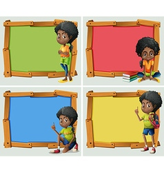 Frame design with African American girl vector image vector image