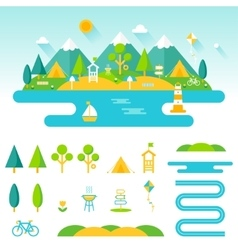 Lake beach woods and mountains summer landscape vector image
