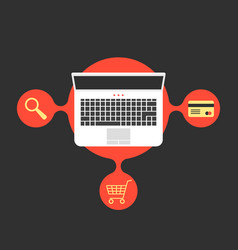online shopping with laptop and red bubble vector image vector image