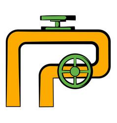 pipeline with valve and handwheel icon vector image