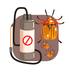 pressure sprayer for extermination colorado potato vector image vector image