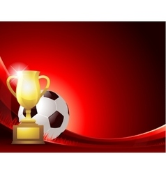 Red abstract Soccer background with ball and vector image vector image