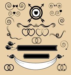 Set of vintage wedding invitation design elements vector image