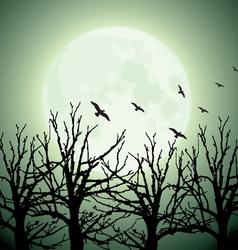 big moon trees and birds vector image