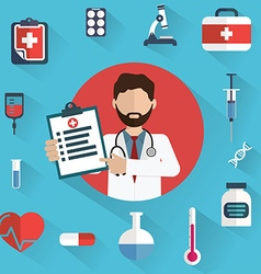 Doctor showing diagnoses with medical icons in a vector image vector image