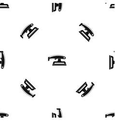 fret saw pattern seamless black vector image
