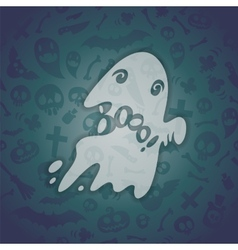 Halloween Card with Spooky Boo vector image vector image