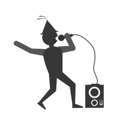 man singing party icon image vector image