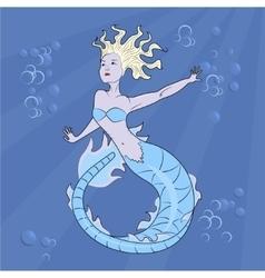 mermaid swimming in the depths vector image