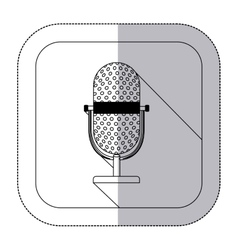 middle shadow monochrome sticker with microphone vector image vector image