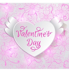 Paper heart on a pink floral background vector image vector image
