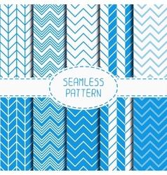 Set of blue fashion geometric seamless pattern vector image